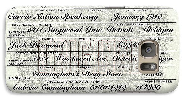 Galaxy Case featuring the photograph Prohibition Prescription Certificate Carrie Nation Speakeasy by David Patterson