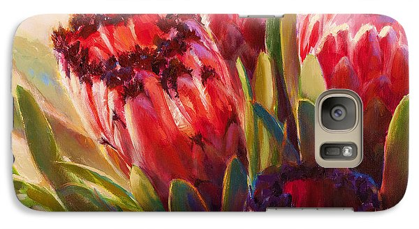 Galaxy Case featuring the painting Protea - Tropical Flowers From Hawaii by Karen Whitworth