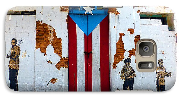 Galaxy Case featuring the photograph Puerto Rican Flag On Wooden Door by Steven Spak