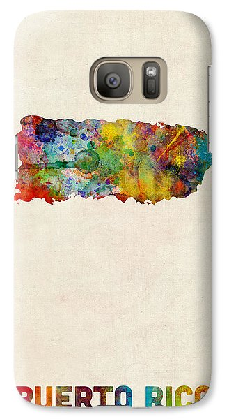 Puerto Rico Watercolor Map Galaxy Case by Michael Tompsett