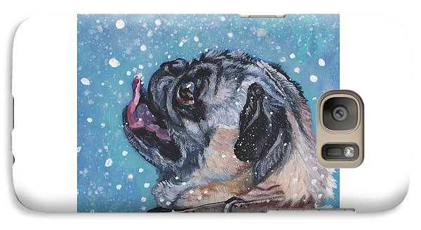 Galaxy Case featuring the painting Pug In The Snow by Lee Ann Shepard