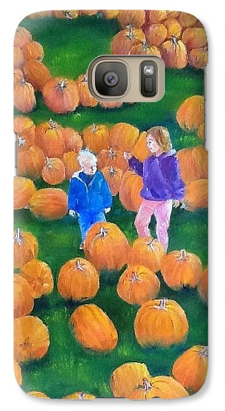 Galaxy Case featuring the painting Pumpkin Patch by Ellen Canfield