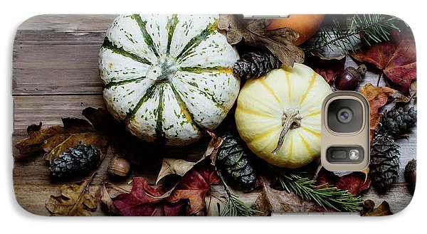 Galaxy Case featuring the photograph Pumpkins And Leaves by Rebecca Cozart