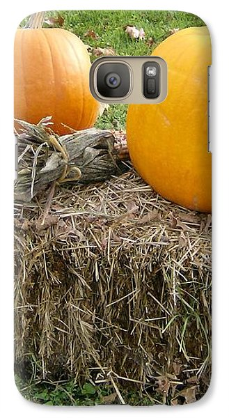 Galaxy Case featuring the photograph Pumpkins On A Haystack by Skyler Tipton