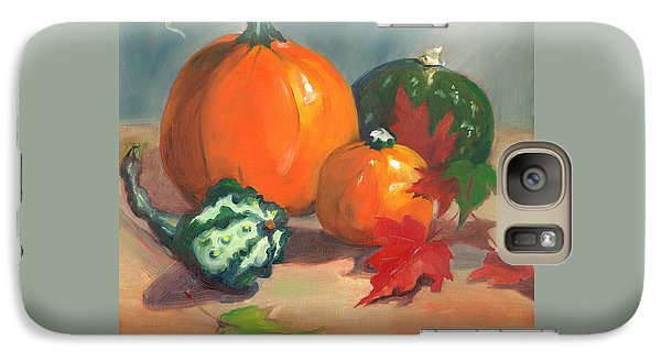 Galaxy Case featuring the painting Pumpkins by Susan Thomas