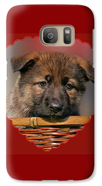 Galaxy Case featuring the photograph Puppy In Red Heart by Sandy Keeton