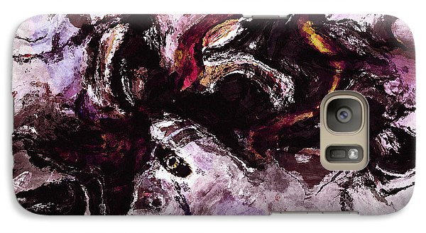 Galaxy Case featuring the painting Purple Abstract Painting / Surrealist Art by Ayse Deniz