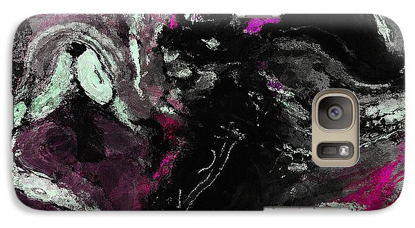 Galaxy Case featuring the painting Purple And Black Minimalist / Abstract Painting by Ayse Deniz