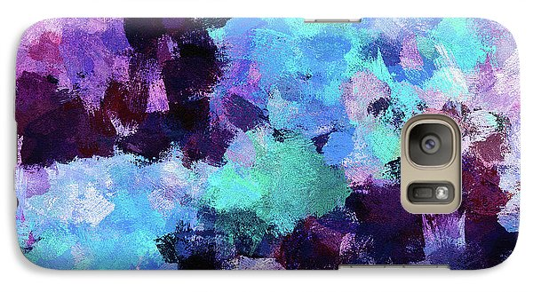 Galaxy Case featuring the painting Purple And Blue Abstract Art by Ayse Deniz