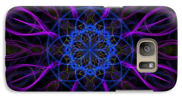 Galaxy Case featuring the photograph Purple Blue Kaleidoscope Square by Adam Romanowicz