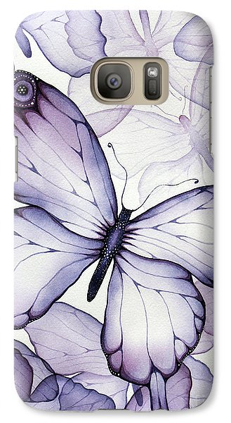 Purple Butterflies Galaxy Case by Christina Meeusen