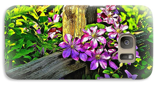 Galaxy Case featuring the digital art Purple Clematis On Split Rail Fence by Dennis Lundell
