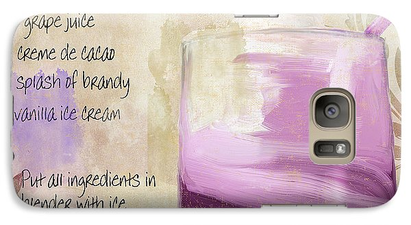 Purple Cow Mixed Cocktail Recipe Sign Galaxy S7 Case by Mindy Sommers