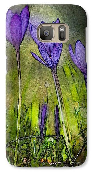 Galaxy Case featuring the photograph Purple Crocus Flowers by Jean Bernard Roussilhe