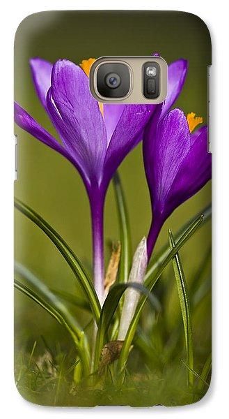 Galaxy Case featuring the photograph Purple Crocus by Gabor Pozsgai