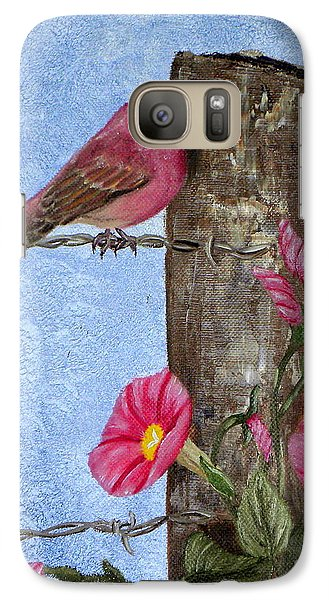 Galaxy Case featuring the painting Purple Finch And Morning Glories by Terri Mills