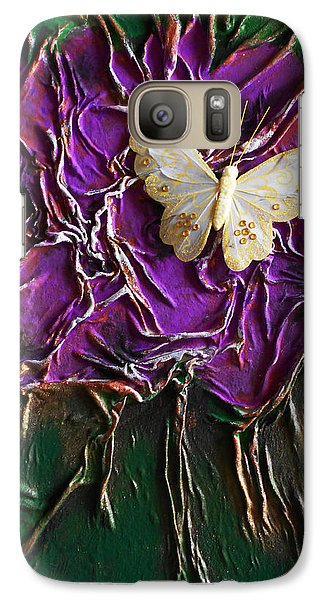 Galaxy Case featuring the mixed media Purple Fowers With Butterfly by Angela Stout