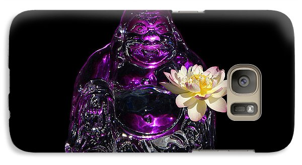Galaxy Case featuring the photograph Purple Glass Buddah With Yellow Lotus Flower by Gary Crockett