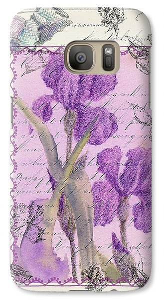 Galaxy Case featuring the drawing Purple Iris by Cathie Richardson