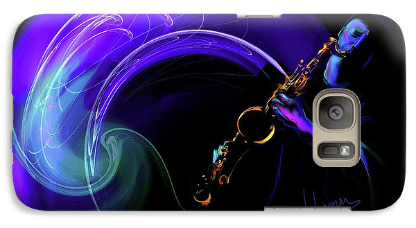 Galaxy Case featuring the painting Purple Moon by DC Langer