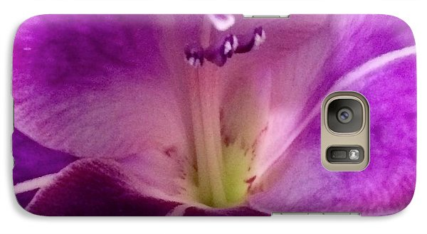 Galaxy Case featuring the photograph Purple Orchid Close Up by Kim Nelson