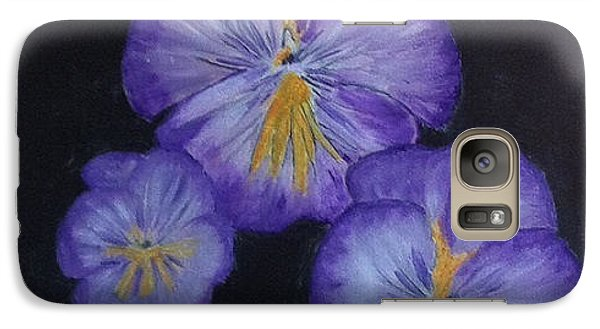 Galaxy Case featuring the painting Purple Pansies by Rod Jellison