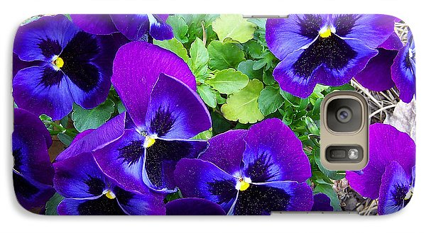 Galaxy Case featuring the photograph Purple Pansies by Sandi OReilly