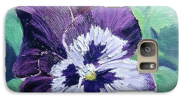 Galaxy Case featuring the painting Purple Pansy by Bonnie Heather