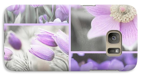 Galaxy Case featuring the photograph Purple Spring Bloom Collage. Shabby Chic Collection by Jenny Rainbow