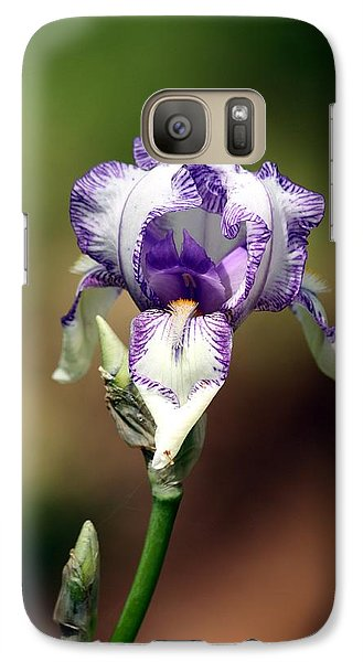 Galaxy Case featuring the photograph Purple Striped Bearded Iris by Sheila Brown