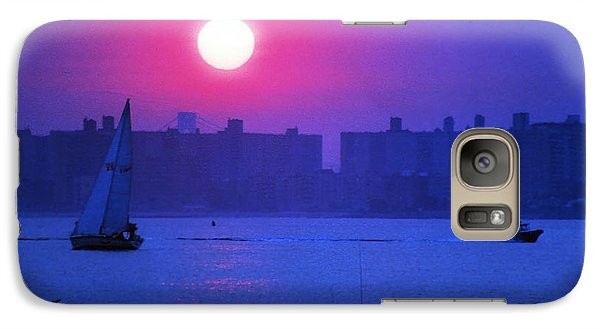 Galaxy Case featuring the photograph Purple Sunset Off Breezy Point Bayside by Maureen E Ritter