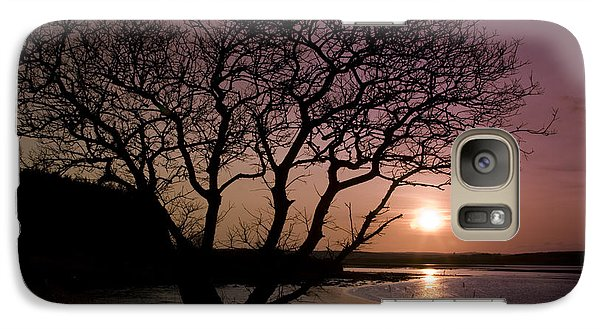 Galaxy Case featuring the photograph Purple Sunset With Tree And Lake by Gabor Pozsgai