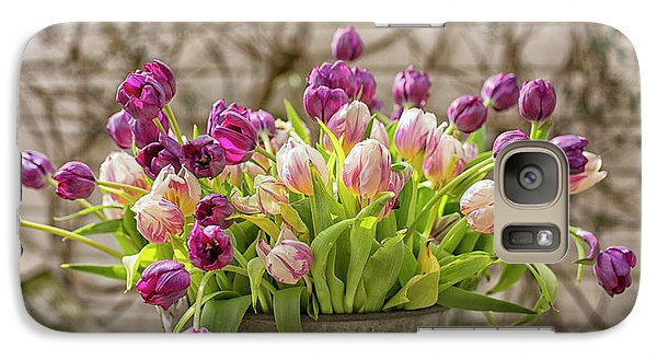 Galaxy Case featuring the photograph Purple Tulips In A Bucket by Patricia Hofmeester