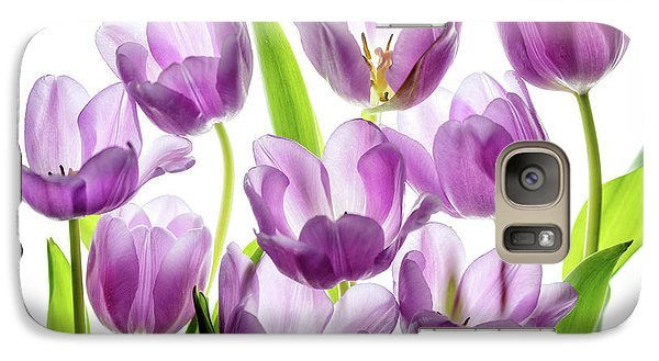 Galaxy Case featuring the photograph Purple Tulips by Rebecca Cozart