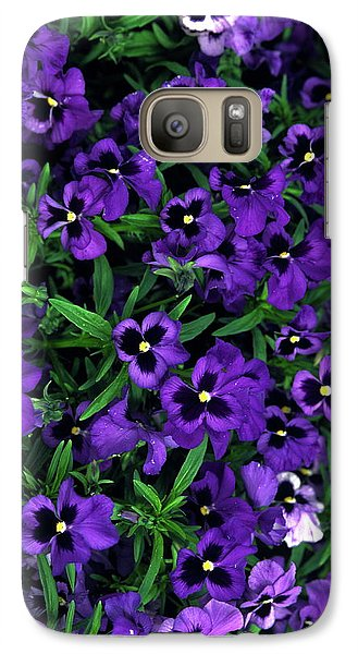 Galaxy Case featuring the photograph Purple Viola Flowers by Sally Weigand