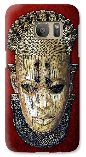 Folk Art Galaxy S7 Case - Queen Mother Idia - Ivory Hip Pendant Mask - Nigeria - Edo Peoples - Court Of Benin On Red Velvet by Serge Averbukh