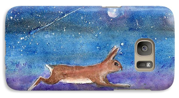 Galaxy Case featuring the painting Rabbit Crossing The Galaxy by Doris Blessington