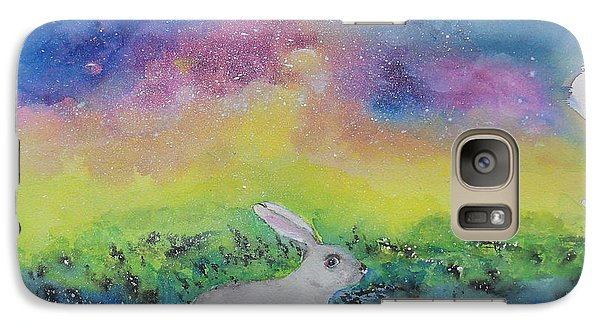 Galaxy Case featuring the painting Rabbit In Galaxy 5 by Doris Blessington