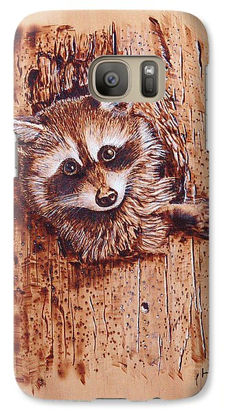 Galaxy Case featuring the pyrography Raccoon by Ron Haist