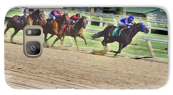 Galaxy Case featuring the digital art Race Horses In Motion by Lise Winne