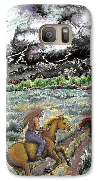 Galaxy Case featuring the drawing Racing The Lightning Home by Dawn Senior-Trask