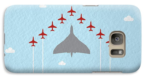 Hawk Galaxy S7 Case - Raf Red Arrows In Formation With Vulcan Bomber by Samuel Whitton