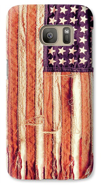 Galaxy Case featuring the photograph Ragged American Flag by Jill Battaglia