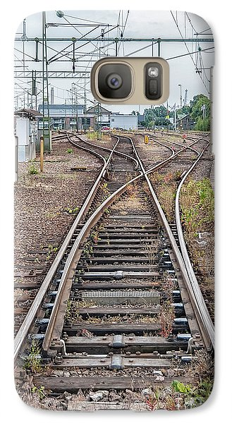 Galaxy Case featuring the photograph Railroad Tracks And Junctions by Antony McAulay