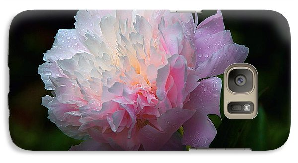 Galaxy Case featuring the photograph Rain-kissed Peony by Byron Varvarigos
