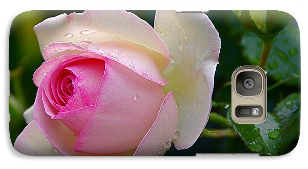 Galaxy Case featuring the photograph Rain-kissed Rose by Byron Varvarigos