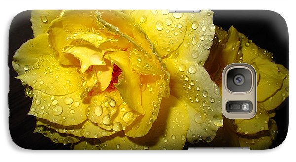 Galaxy Case featuring the photograph Rain Soaked Yellow Rose by Joyce Dickens