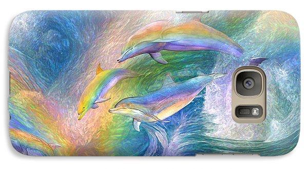 Rainbow Dolphins Galaxy S7 Case by Carol Cavalaris