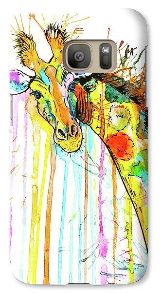 Galaxy Case featuring the painting Rainbow Giraffe by Zaira Dzhaubaeva