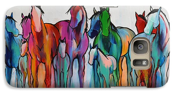 Galaxy Case featuring the painting Rainbow Horses by Cher Devereaux